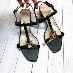 Salvatore Ferragamo Low Heel Black Leather Sandal
